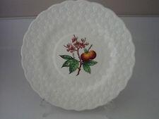 "COPELAND SPODE 9 1/4"" plate PEACH embossed daisy pattern on rim white w/ fruit"