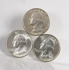 3 Pack Washington 25C 1935-S 1936 1940 S & P US Minted Silver Quarter Coin LOT
