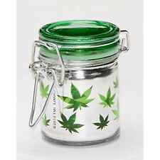 Glass Herb Mini Stash Jar with Clamping Lid,Metalic Silver/Green Leaves 1.5oz.
