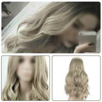 Women Fashion Ombre Blonde Long Curly Hair Wig Ladies Body Wavy Cosplay Wigs