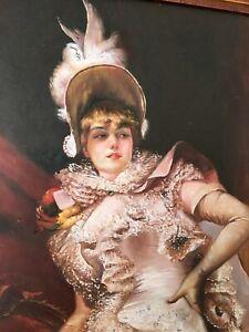 MADAME Portrait Oil Painting Elegant Dressed Victorian Lady Gilt Ebony Frame