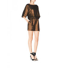Tamara Mellon Metallic Bronze Boat Neck Romper NEW