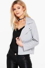BOOHOO Brand Grey Emily Scuba Biker Jacket Size 6 BNWT #JA49