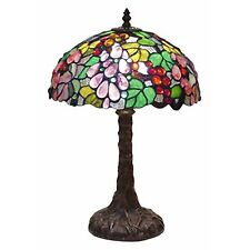 TIFFANY STYLE TABLE LAMP 46CM EMBOSSED GRAPE DESIGN GLASS SHADE 31CM FREE BULB