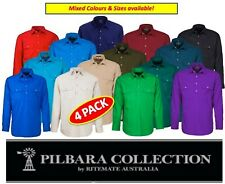 RITEMATE - 4 PACK - PILBARA CLOSED FRONT LONG SLEEVE MENS WORK SHIRT - RM200CF