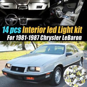 14Pc Super White Car Interior LED Light Bulb Kit for 1981-1987 Chrysler LeBaron