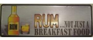 Australian Novelty Tin Number Plate RUM..NOT JUST BREAKFAST 380mm x 130mm