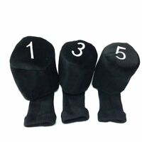 Set of 3 Long Neck Barrel Golf Club Head Covers Headcovers Protect Black 1 3 5