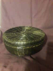Antique/Vintage Black Tight Weave 2pc Sewing Basket