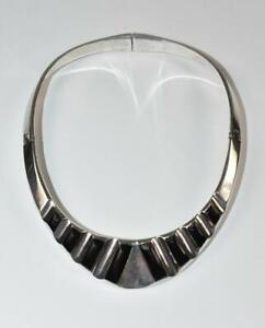 Mexican Sterling Silver & Onyx Hinged Choker Necklace TH-177
