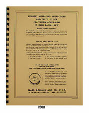 Sears Craftsman Accra-Arm 10 inch Radial Saw 113.29003 Op & Parts Manual #1508