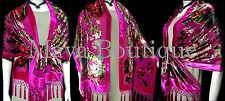 Fuschia Wrap Scarf Shawl Silk Burnout Velvet English Rose Beaded Maya Matazaro
