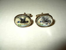 Vintage Reverse Carved Geese Or Duck Plastic Dome Gold Filled Oval Cufflinks