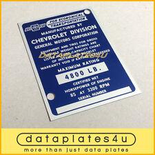 CHEVROLET TRUCK INFO DATA PLATE ID TAG VIN REGISTRATION DOOR POST 4800 LB 85 HP