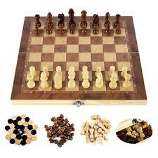 Jeu D'échecs International 3 en 1 En Bois Reflexion Stratégie Adulte et Enfants