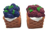 "Blueberry & Rasberry Picnic Basket Vintage Ceramic 2"" Salt & Pepper Shakers"