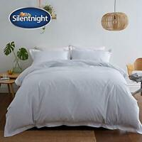 Silentnight Pinstripe Oxford Edge Duvet Set, Duck Egg, Super King