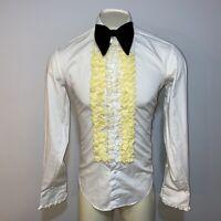 Vtg 60s 70s AFTER SIX Tuxedo Shirt White YELLOW Ruffles Retro Formal MENS MEDIUM