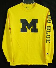 Michigan Wolverines Go Blue Long Sleeve Yellow Champion Shirt size Small