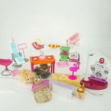 Barbie LOT Fishtank Desk Dentist Chair Baby Carriage Computer Karaoke Horse Kit