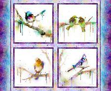 Connie Haley Color Splash BIRDS PANEL 4 Squares Blue Jay Digital Print Fabric