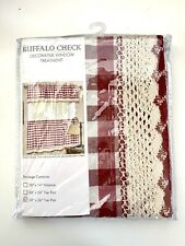 "Buffalo Check Curtains Pair Tier Crochet Trim Burgundy/Red Plaid Gingham 58""x36"""