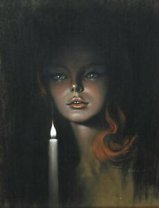Superb Original Art Pastel Picture Stephen Pearson Candlelight Girl #1 1967