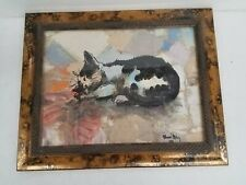 Signed Multimedia Painted Collage of Sleeping Cat Framed 26x21