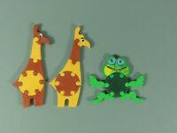 SPIELZEUG: Steckpuzzle - Var. Tierpuzzle 1988 - Komplettsatz + Var. Giraffe