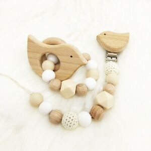 Bird Wood Silicone Beads Baby Teething Bracelet Chew Dummy Pacifier Chain Clips