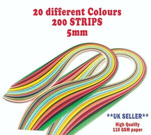 5mm DIY 200 Quilling Paper Strips Craft Quality DIY Home Decor Kit
