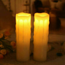 """TWO Melrose Home Decoration 8"""" Wax Dripping Pillar Flickering LED Candle Light"""