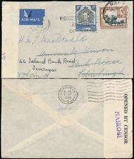 KUT KENYA to SCOTLAND 1940 CENSORED AIRMAIL FORWARDED to INVERNESS