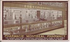 MONTEAL Pharmacy Prescription Medicine Bottle Drug Store CANADA PM 1935 Postcard