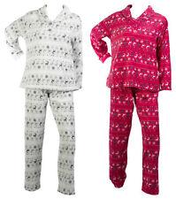 Pijamas para mujer Fairisle Reno Patrón Pijama Polar Suave Manga Larga Superior Bottoms