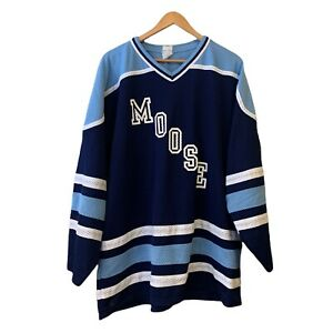 Vintage Manitoba Moose Ice Hockey Jersey with large Moose Spell Out AHL Size XL