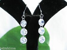 925 Stamped Sterling Silver Treble Sparkle Clear Stones Drop Chain Earrings Gift