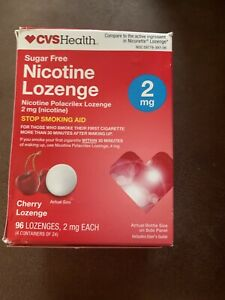 CVS SUGAR FREE NICOTINE LOZENGE 2 mg. 96 LOZENGES CHERRY FLAVOR EXP. 3/21