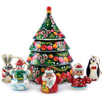 """6.75"""" Nesting Doll w/ Christmas Tree Ornament Set Father Frost, Penguin, Snowman"""