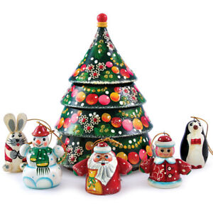6-pc Wooden Christmas Tree Shaped Nesting Doll with Ornaments Handmade in Russia