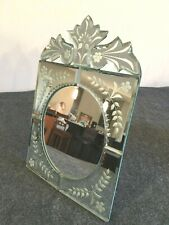 Ornate Vanity Mirror - Etched glass design - Mirror Frame - Tabletop or Wall