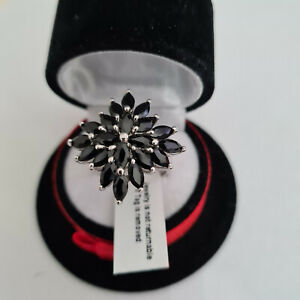 Stunning Black Spinel Cluster ring in platinum over silver