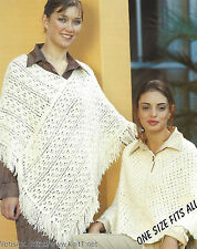 CROCHET PONCHOS PATTERNS DOUBLE KNIT ONE SIZE FITS ALL (884)