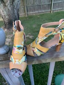 L'Artiste Sz 7.5/8 Abstract Heels Zip Leather Sandals Shoes