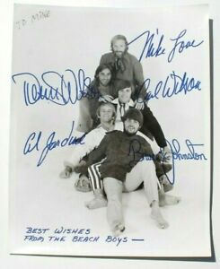 Vtg Authentic BEACH BOYS Press Photo - Fully band signed / autographed