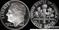 1998 S 90% Silver Roosevelt Dimes Deep Cameo Gem Proof