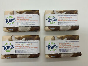 Tom's of Maine Natural Beauty Bar Soap with Virgin Coconut Oil 5 oz ~ FOUR BARS