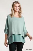 Umgee Dusty Mint Layered Linen Blend Tunic Top Plus Size XL 1X 2X