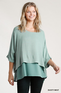 Umgee Dusty Mint Layered Linen Blend Tunic Top Plus Size XL 1X 2X