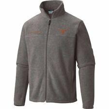 Columbia Men's UT Texas Longhorns Grey Flanker Full Zip Fleece JACKET LARGE NEW